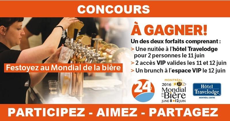 Concours Gagnez l'un des 2 forfaits VIP pour assister au Mondial de la bière!
