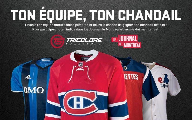 Concours Gagnez l'un des 7 chandails répliques au choix : Canadiens de Montréal, Alouettes de Montréal, Impact de Montréal ou Expos de Montréal!