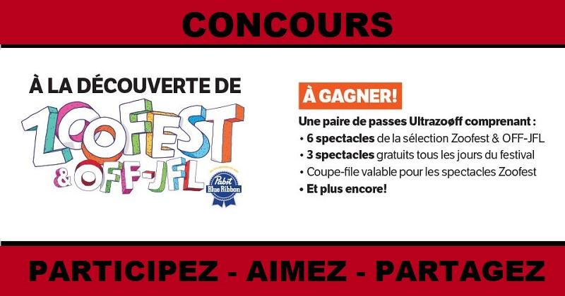 Concours Gagnez une paire de passes Ultrazooff pour assister à Zoofest!