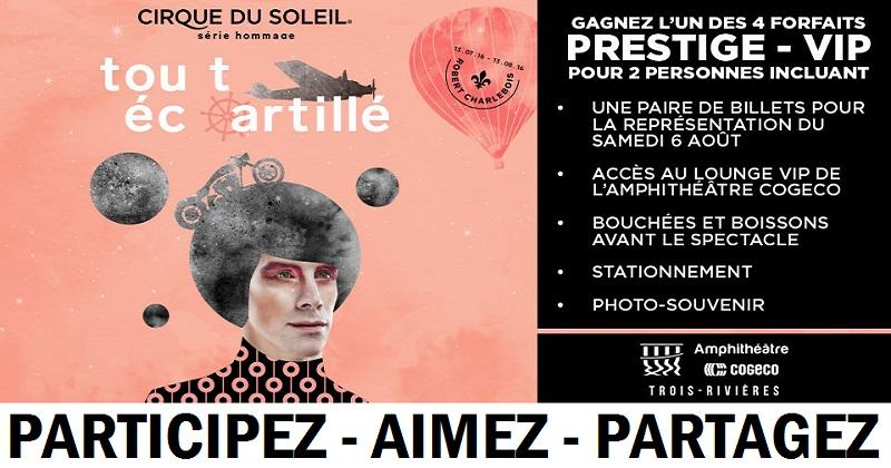 Concours Gagnez un forfait Prestige VIP pour 2 personnes pour le spectacle Tout écartillé Série hommage Robert Charlebois!