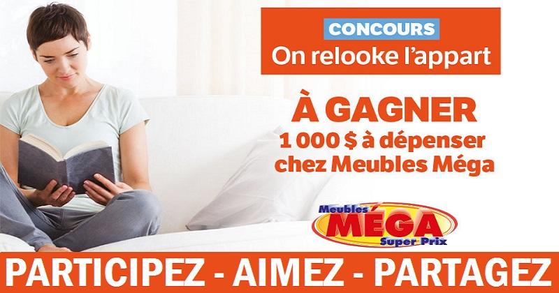 Concours Gagnez un crédit de 1000$ à dépenser chez Meubles Méga Super Prix!