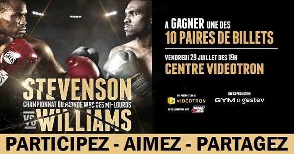 Concours Gagnez une paire de billets pour le Gala Boxe Stevenson VS Williams!