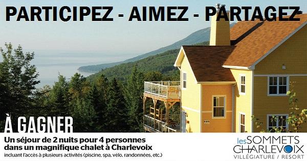 Concours Gagnez un séjour de 2 nuits pour 4 personnes dans un magnifique chalet à Charlevoix!