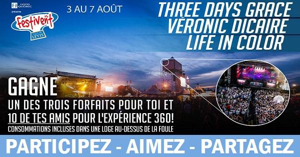 Concours Gagnez un forfait pour vous et 10 de vos amis pour l'Expérience 360 pour le Festivent Ville de Lévis!