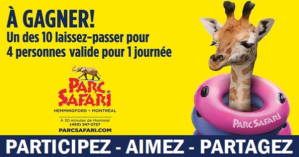 Concours Gagnez un laissez-passer pour 4 personnes valide pour une journée au Parc Safari!