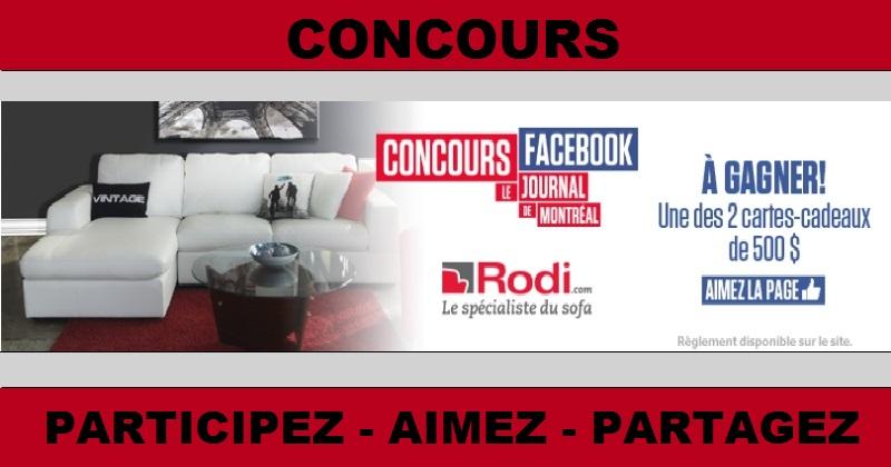 Concours Gagnez 500$ à dépenser chez Rodi Le spécialiste du sofa!