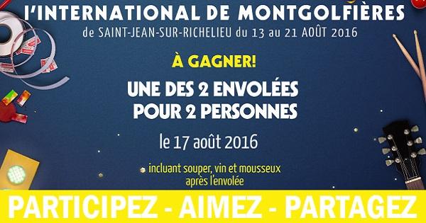 Concours Gagnez une envolée pour 2 personnes à l'International de montgolfières de St-Jean-sur-Richelieu!