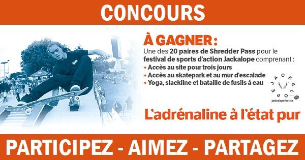 Concours Gagnez une paire de Shredder Pass pour le festival de sports d'action Jackalope!