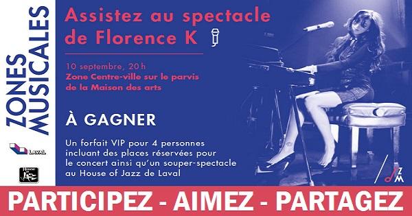 Concours Gagnez un forfait VIP pour 4 incluant places réservées en avant-scène pour le spectacle de Florence K!