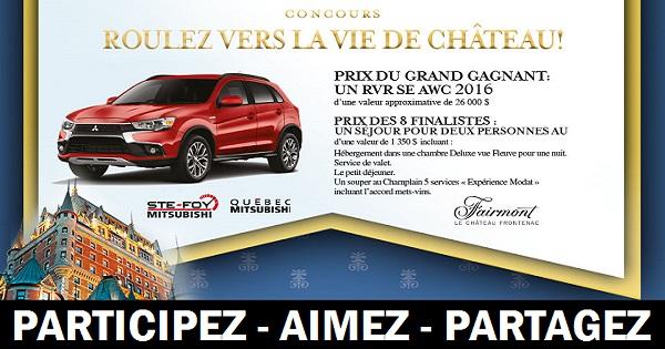 Concours Gagnez un RVR SE AWC  2016 ou un forfait au Fairmont le Château Frontenac!