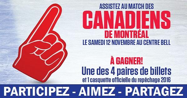 Concours Gagnez une paire de billets pour assister au match des Canadiens de Montréal!