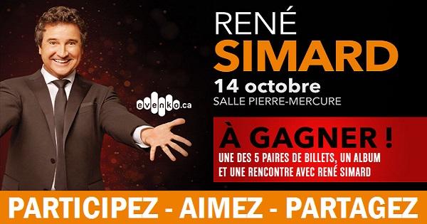 Concours Gagnez une paire de billets pour le spectacle de René Simard!