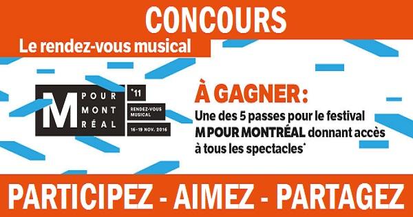 Concours Gagnez une passe pour le festival M POUR MONTRÉAL!