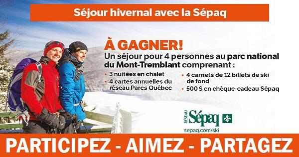 Concours Gagnez un séjour hivernal avec la Sépaq!