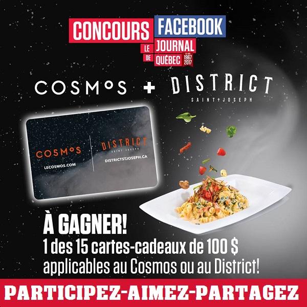 Concours Gagnez 100$ applicable au Cosmos ou au District!