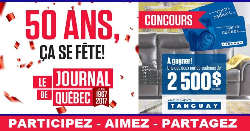 Concours Les 50 ans du Journal de Québec avec Ameublements Tanguay!
