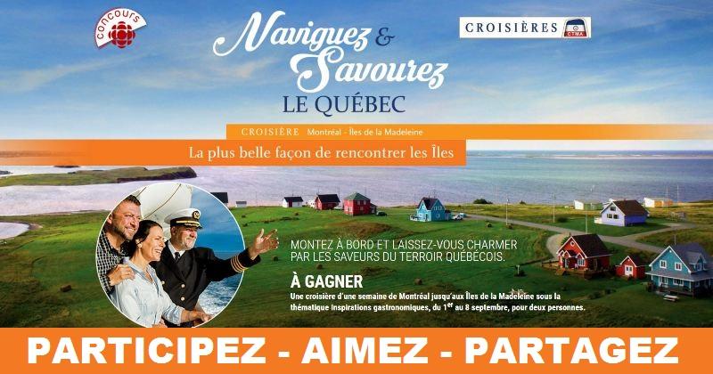 Concours Gagnez une croisière d'une semaine de Montréal jusqu'aux Îles de la Madelaine!